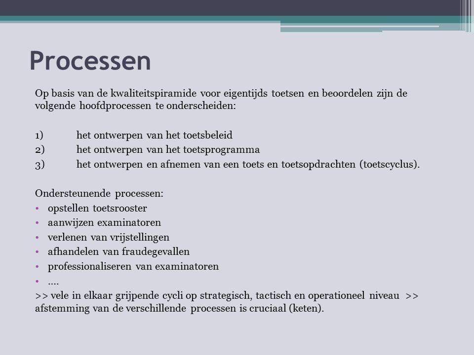 Processen Op basis van de kwaliteitspiramide voor eigentijds toetsen en beoordelen zijn de volgende hoofdprocessen te onderscheiden: 1) het ontwerpen