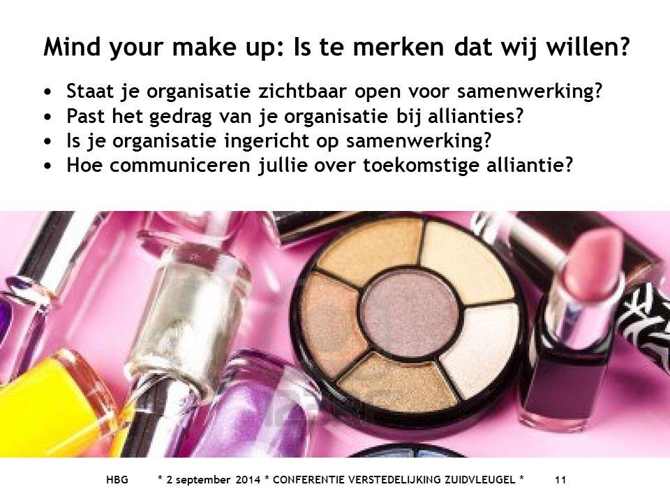 HBG * 2 september 2014 * CONFERENTIE VERSTEDELIJKING ZUIDVLEUGEL * 11 Mind your make up: Is te merken dat wij willen.