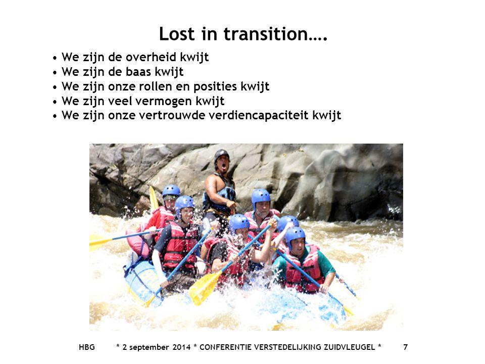 HBG * 2 september 2014 * CONFERENTIE VERSTEDELIJKING ZUIDVLEUGEL * 7 Lost in transition…. We zijn de overheid kwijt We zijn de baas kwijt We zijn onze
