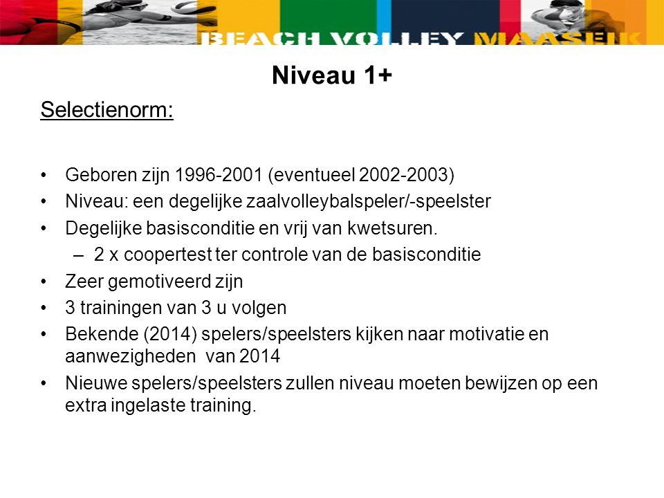 Niveau 1+ Selectienorm: Geboren zijn 1996-2001 (eventueel 2002-2003) Niveau: een degelijke zaalvolleybalspeler/-speelster Degelijke basisconditie en vrij van kwetsuren.