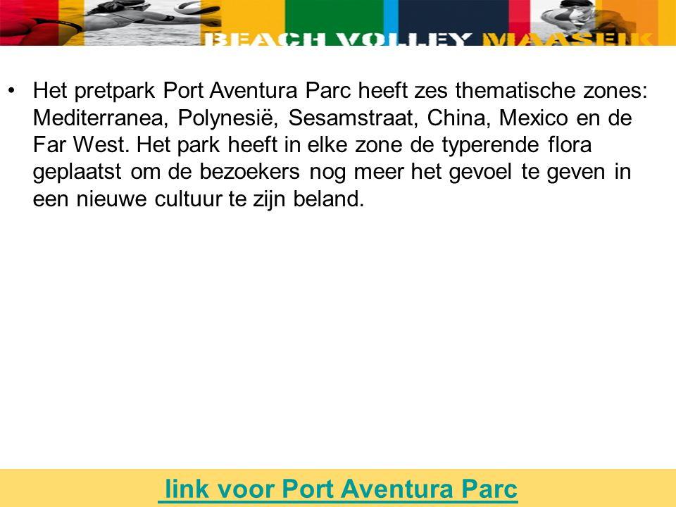 Het pretpark Port Aventura Parc heeft zes thematische zones: Mediterranea, Polynesië, Sesamstraat, China, Mexico en de Far West.