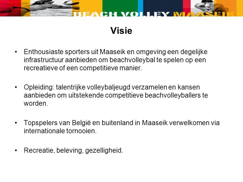 Visie Enthousiaste sporters uit Maaseik en omgeving een degelijke infrastructuur aanbieden om beachvolleybal te spelen op een recreatieve of een competitieve manier.