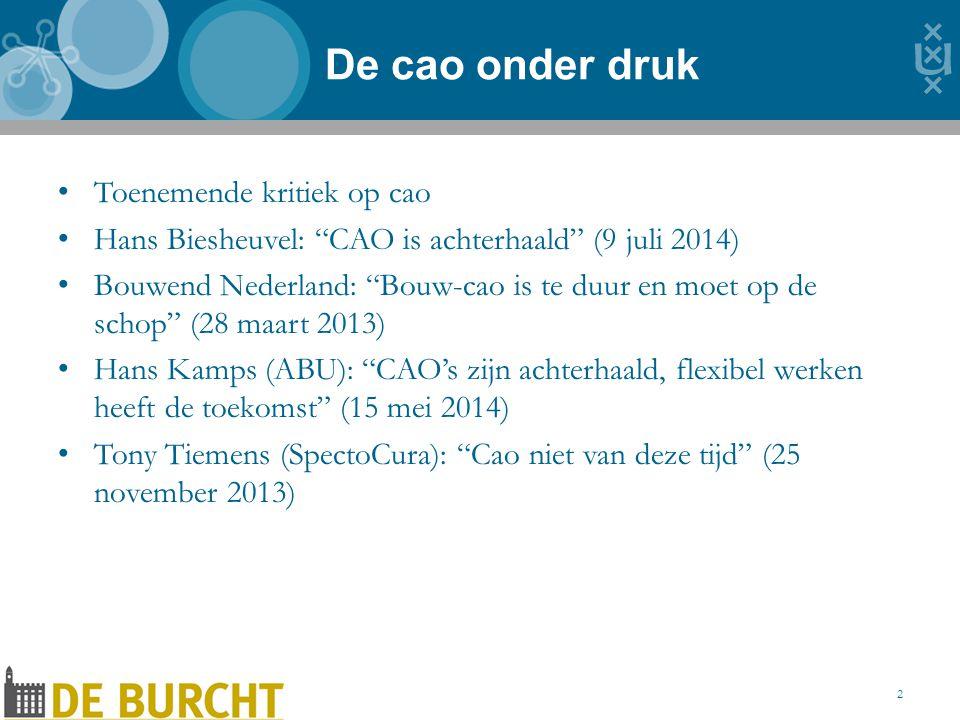 Toenemende kritiek op cao Hans Biesheuvel: CAO is achterhaald (9 juli 2014) Bouwend Nederland: Bouw-cao is te duur en moet op de schop (28 maart 2013) Hans Kamps (ABU): CAO's zijn achterhaald, flexibel werken heeft de toekomst (15 mei 2014) Tony Tiemens (SpectoCura): Cao niet van deze tijd (25 november 2013) De cao onder druk 2