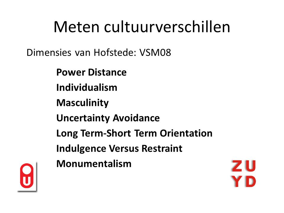 Meten cultuurverschillen Dimensies van Hofstede: VSM08 Power Distance Individualism Masculinity Uncertainty Avoidance Long Term-Short Term Orientation Indulgence Versus Restraint Monumentalism