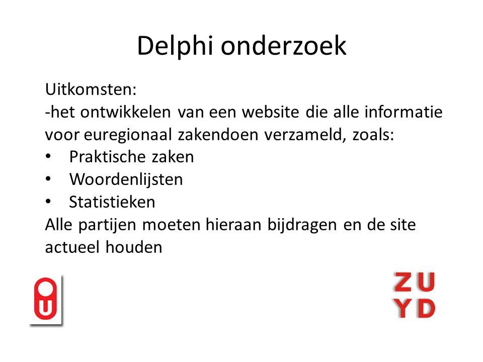 Delphi onderzoek Uitkomsten: -het ontwikkelen van een website die alle informatie voor euregionaal zakendoen verzameld, zoals: Praktische zaken Woordenlijsten Statistieken Alle partijen moeten hieraan bijdragen en de site actueel houden