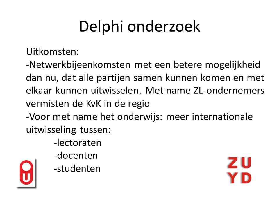 Delphi onderzoek Uitkomsten: -Netwerkbijeenkomsten met een betere mogelijkheid dan nu, dat alle partijen samen kunnen komen en met elkaar kunnen uitwisselen.