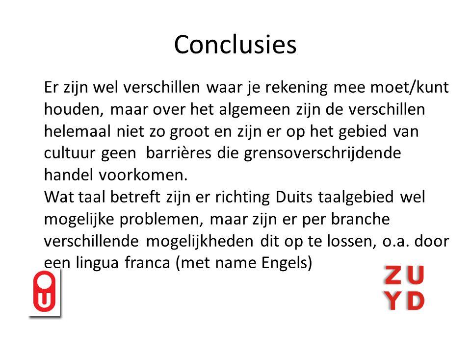 Conclusies Regionale verschillen: 1.Bestaan er culturele verschillen tussen de ondernemers in Belgisch Limburg, Zuid-Limburg en het Kammerbezirk Aachen, en indien ja, wat is de natuur van deze verschillen?