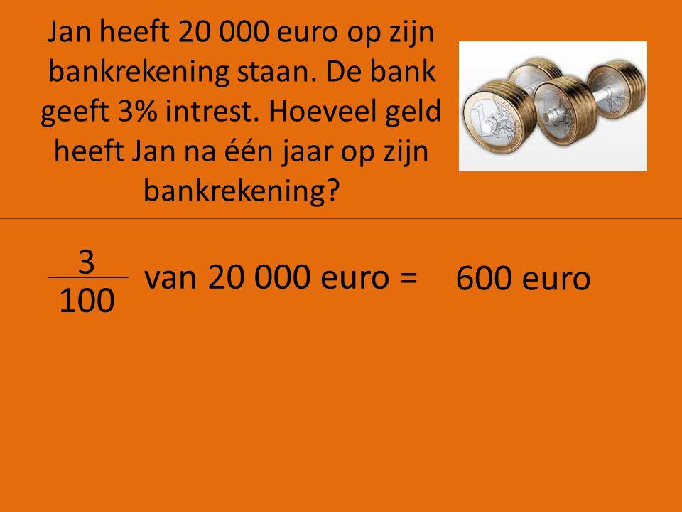 Jan heeft 20 000 euro op zijn bankrekening staan. De bank geeft 3% intrest. Hoeveel geld heeft Jan na één jaar op zijn bankrekening? 3 100 van 20 000