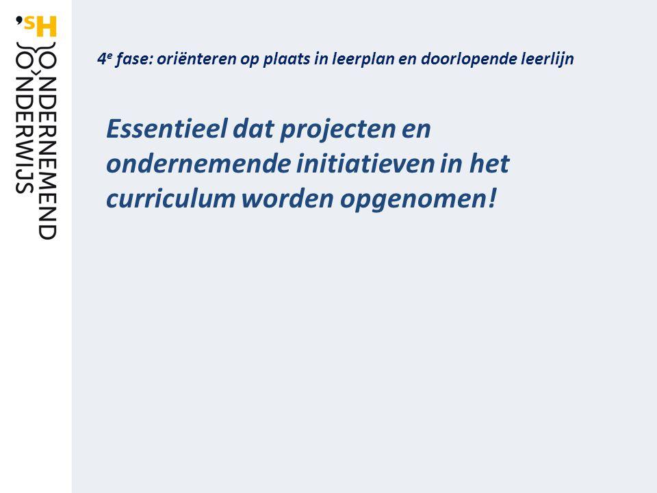 4 e fase: oriënteren op plaats in leerplan en doorlopende leerlijn Essentieel dat projecten en ondernemende initiatieven in het curriculum worden opgenomen!