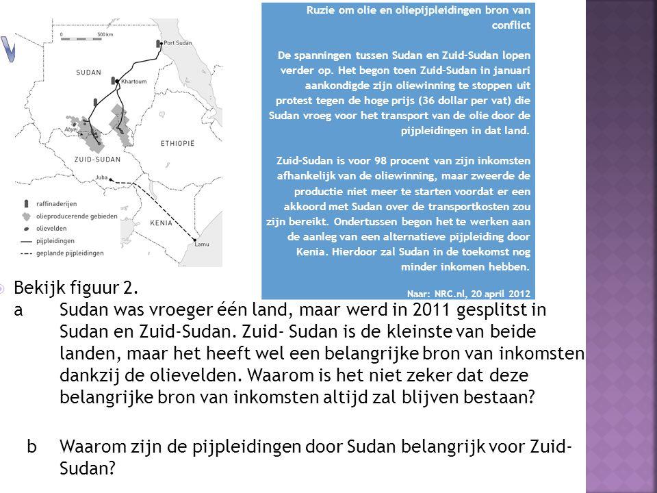  Bekijk figuur 2. a Sudan was vroeger één land, maar werd in 2011 gesplitst in Sudan en Zuid-Sudan. Zuid- Sudan is de kleinste van beide landen, maar