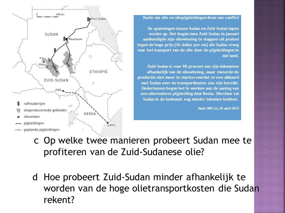 c Op welke twee manieren probeert Sudan mee te profiteren van de Zuid-Sudanese olie? d Hoe probeert Zuid-Sudan minder afhankelijk te worden van de hog