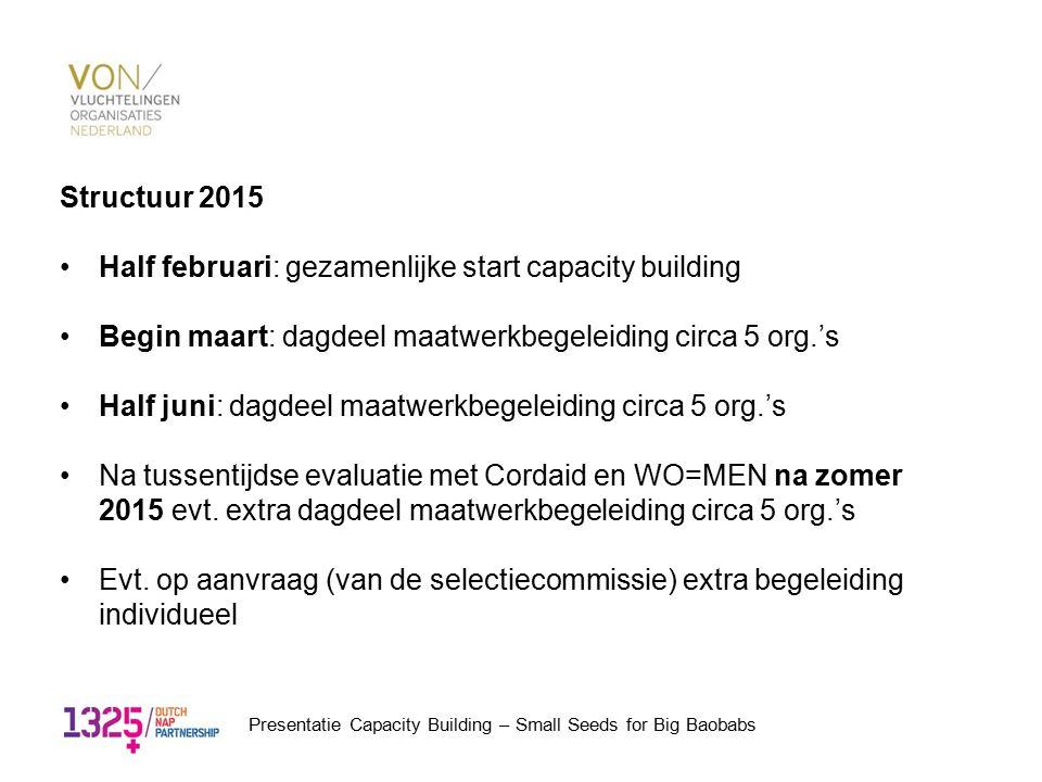 Structuur 2015 Half februari: gezamenlijke start capacity building Begin maart: dagdeel maatwerkbegeleiding circa 5 org.'s Half juni: dagdeel maatwerk