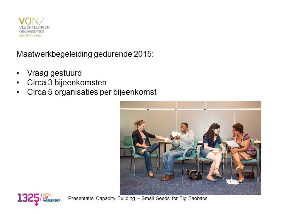 Maatwerkbegeleiding gedurende 2015: Vraag gestuurd Circa 3 bijeenkomsten Circa 5 organisaties per bijeenkomst Presentatie Capacity Building – Small Se