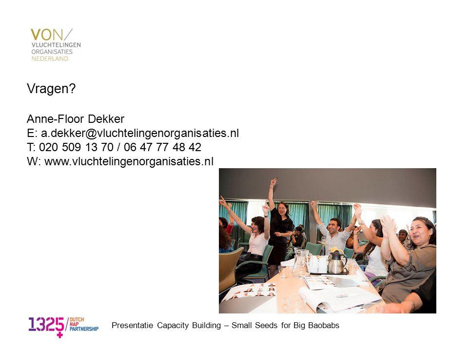 Vragen? Anne-Floor Dekker E: a.dekker@vluchtelingenorganisaties.nl T: 020 509 13 70 / 06 47 77 48 42 W: www.vluchtelingenorganisaties.nl Presentatie C
