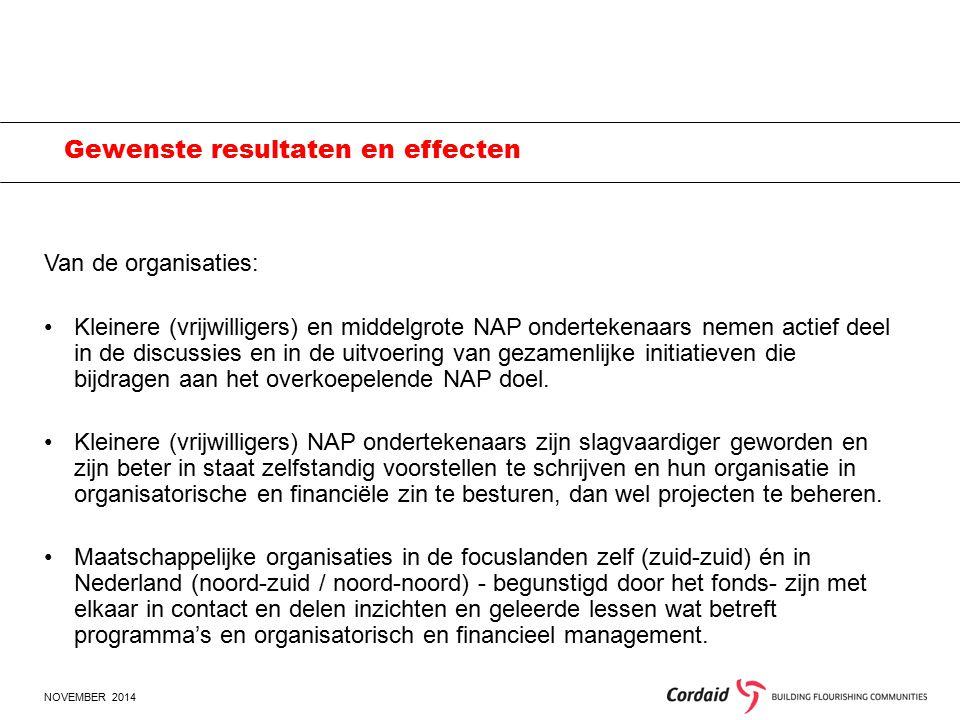 NOVEMBER 2014 Gewenste resultaten en effecten Van de organisaties: Kleinere (vrijwilligers) en middelgrote NAP ondertekenaars nemen actief deel in de discussies en in de uitvoering van gezamenlijke initiatieven die bijdragen aan het overkoepelende NAP doel.