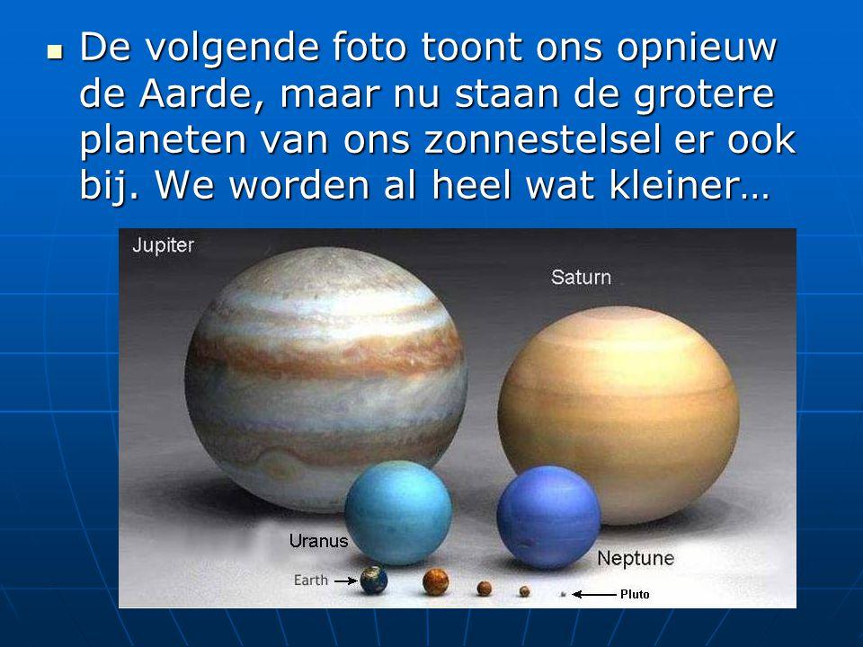 De volgende foto toont ons opnieuw de Aarde, maar nu staan de grotere planeten van ons zonnestelsel er ook bij. We worden al heel wat kleiner… De volg