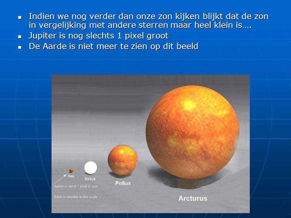 Indien we nog verder dan onze zon kijken blijkt dat de zon in vergelijking met andere sterren maar heel klein is…. Indien we nog verder dan onze zon k