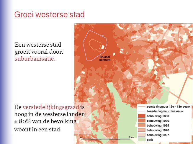 Een westerse stad groeit vooral door: suburbanisatie. Groei westerse stad De verstedelijkingsgraad is hoog in de westerse landen: ± 80% van de bevolki