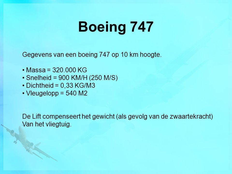 Boeing 747 Gegevens van een boeing 747 op 10 km hoogte. Massa = 320.000 KG Snelheid = 900 KM/H (250 M/S) Dichtheid = 0,33 KG/M3 Vleugelopp = 540 M2 De