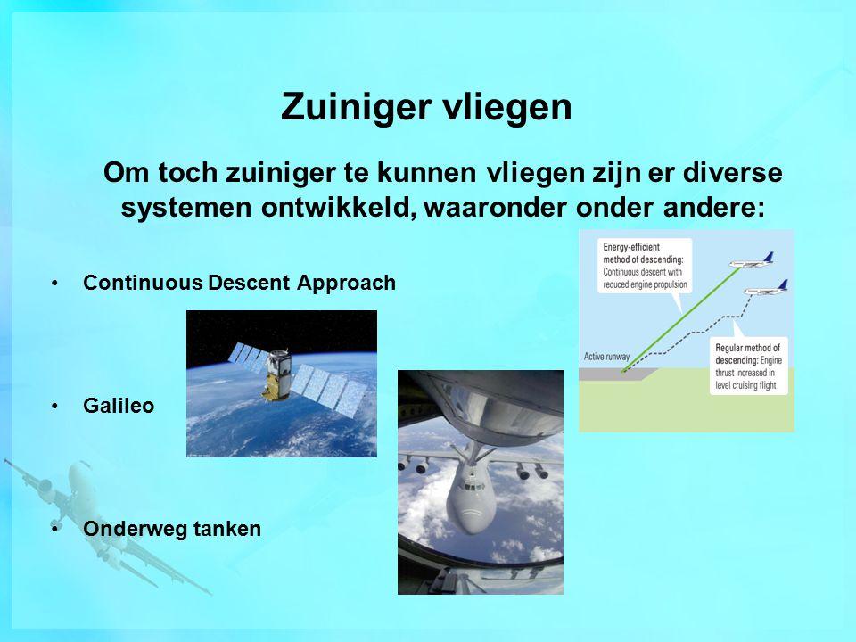 Zuiniger vliegen Om toch zuiniger te kunnen vliegen zijn er diverse systemen ontwikkeld, waaronder onder andere: Continuous Descent Approach Galileo Onderweg tanken