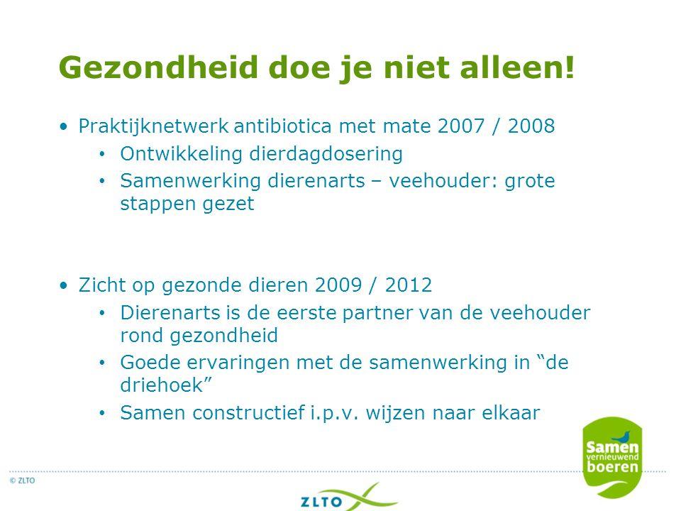 Gezondheid doe je niet alleen! Praktijknetwerk antibiotica met mate 2007 / 2008 Ontwikkeling dierdagdosering Samenwerking dierenarts – veehouder: grot