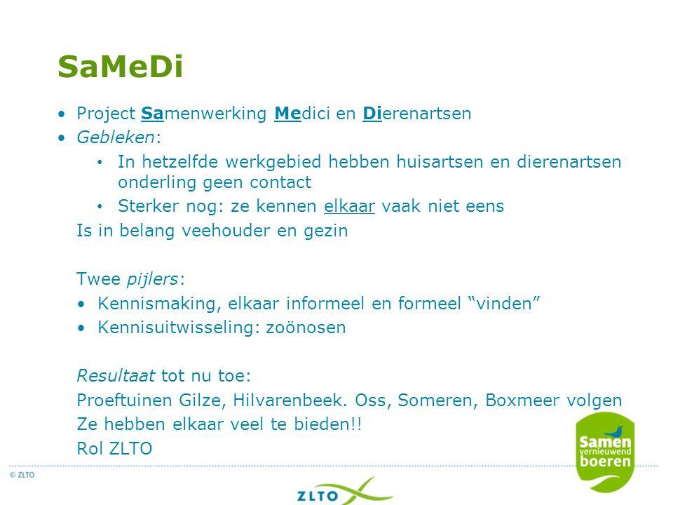 SaMeDi Project Samenwerking Medici en Dierenartsen Gebleken: In hetzelfde werkgebied hebben huisartsen en dierenartsen onderling geen contact Sterker