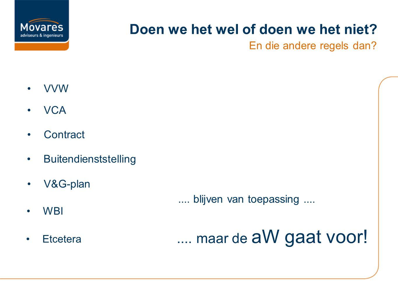 Doen we het wel of doen we het niet? En die andere regels dan? VVW Buitendienststelling VCA Contract V&G-plan WBI Etcetera.... blijven van toepassing.