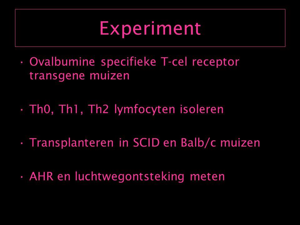 Resultaat Th1 lymfocyten : Inductie ernstige inflammatie Th2 ontstekingseffect niet reduceren Geen inductie AHR Th2 AHR effect niet reduceren