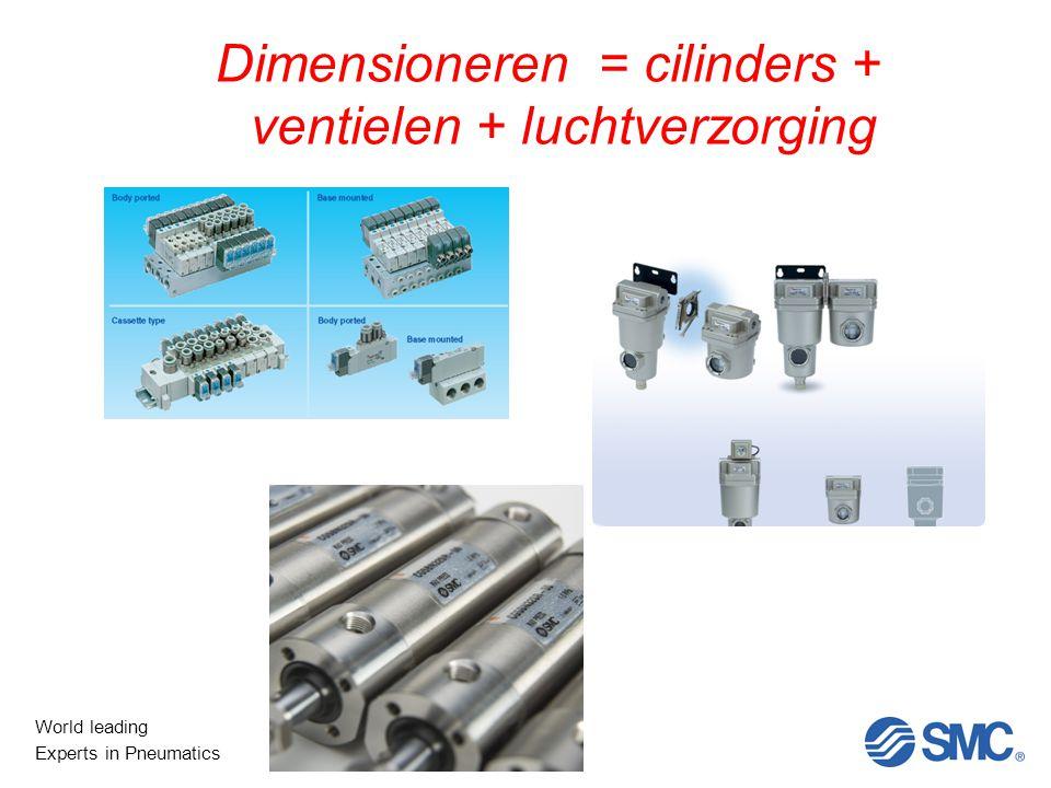 World leading Experts in Pneumatics Dimensioneren = cilinders + ventielen + luchtverzorging