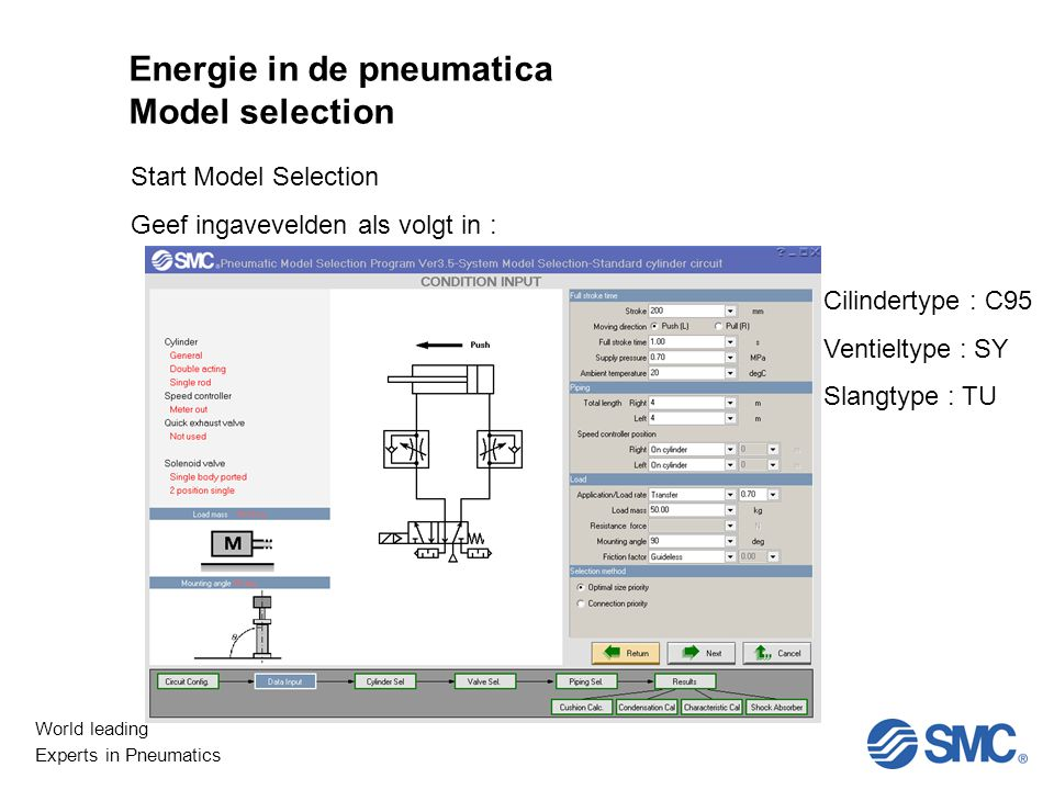 World leading Experts in Pneumatics Start Model Selection Geef ingavevelden als volgt in : Cilindertype : C95 Ventieltype : SY Slangtype : TU Energie in de pneumatica Model selection