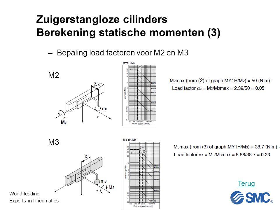 World leading Experts in Pneumatics Niet Lineair Zuigerstangloze cilinders Berekening statische momenten (3) –Bepaling load factoren voor M2 en M3 M2 M3 Terug