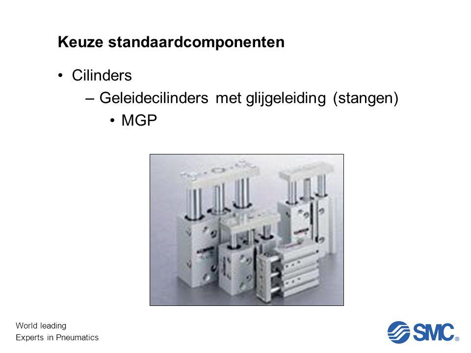 World leading Experts in Pneumatics Keuze standaardcomponenten Cilinders –Geleidecilinders met glijgeleiding (stangen) MGP