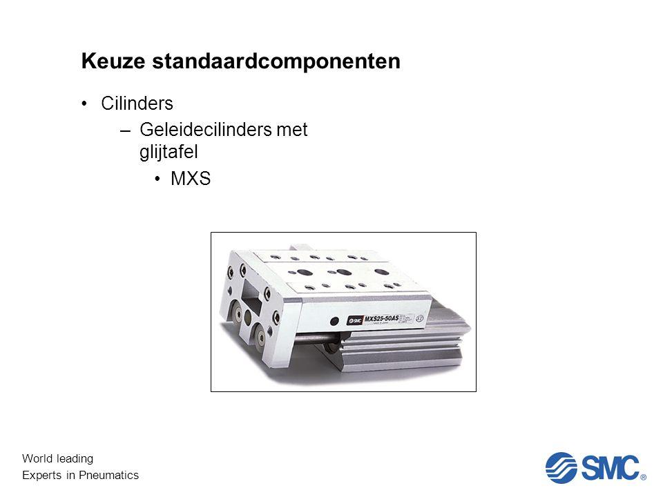 World leading Experts in Pneumatics Keuze standaardcomponenten Cilinders –Geleidecilinders met glijtafel MXS