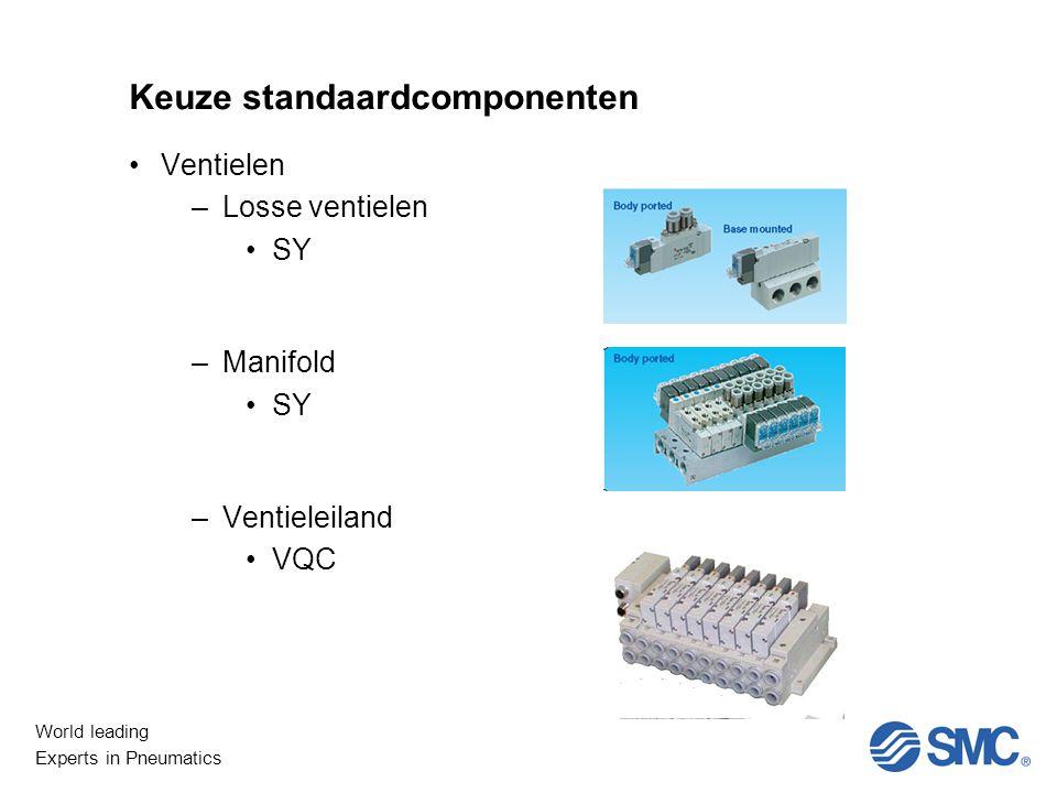 World leading Experts in Pneumatics Keuze standaardcomponenten Ventielen –Losse ventielen SY –Manifold SY –Ventieleiland VQC