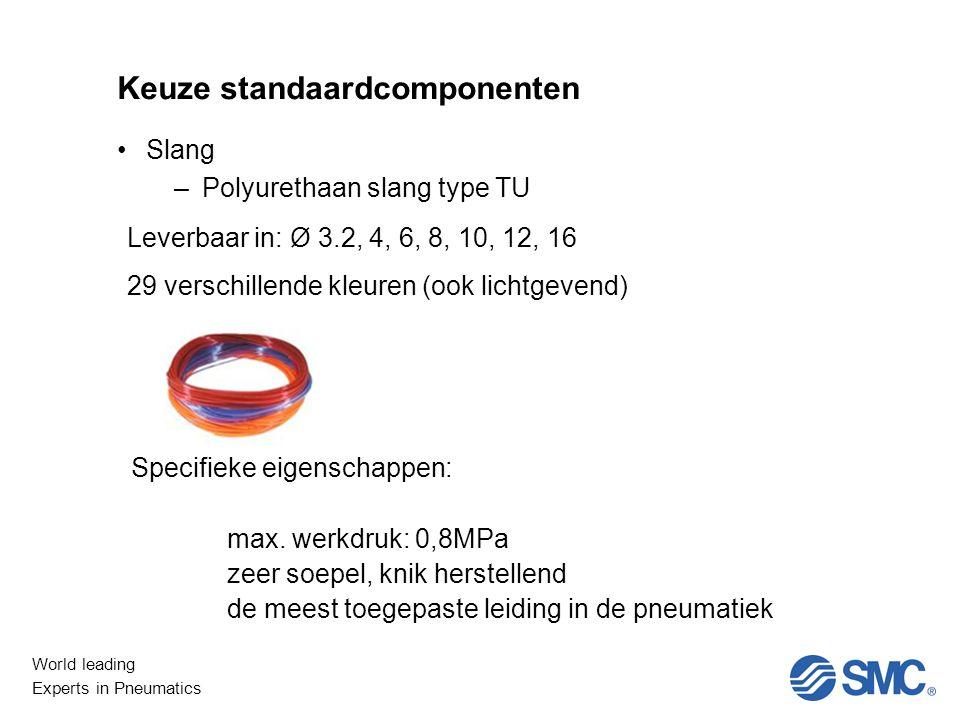 World leading Experts in Pneumatics Keuze standaardcomponenten Slang –Polyurethaan slang type TU Leverbaar in: Ø 3.2, 4, 6, 8, 10, 12, 16 29 verschillende kleuren (ook lichtgevend) Specifieke eigenschappen: max.