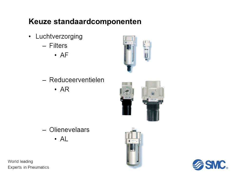 World leading Experts in Pneumatics Keuze standaardcomponenten Luchtverzorging –Filters AF –Reduceerventielen AR –Olienevelaars AL
