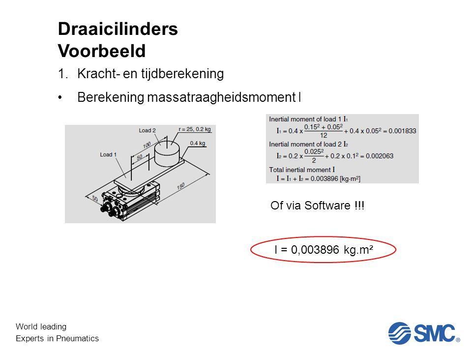 World leading Experts in Pneumatics Niet Lineair 1.Kracht- en tijdberekening Berekening massatraagheidsmoment I Draaicilinders Voorbeeld Of via Software !!.