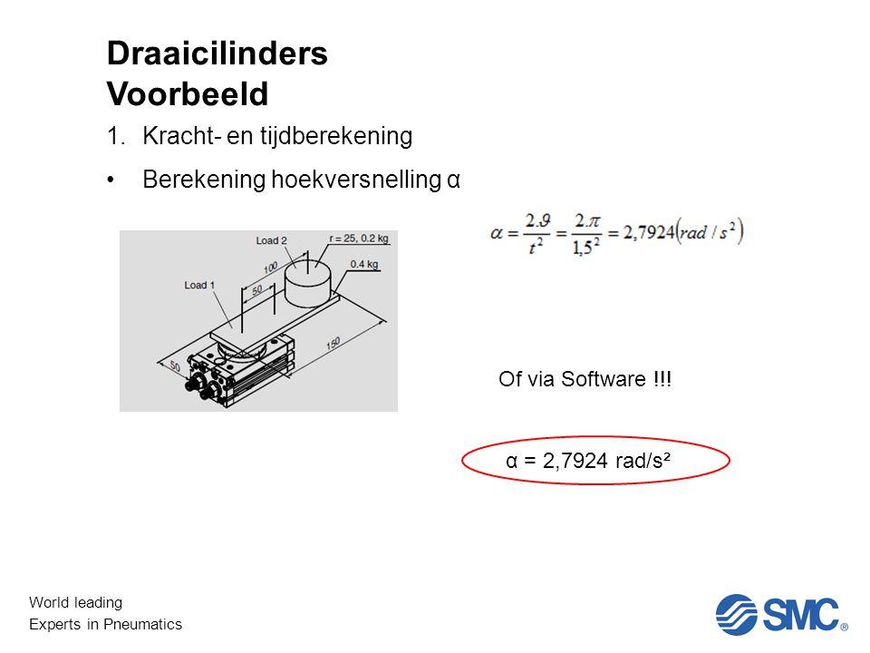 World leading Experts in Pneumatics Niet Lineair 1.Kracht- en tijdberekening Berekening hoekversnelling α Draaicilinders Voorbeeld Of via Software !!.