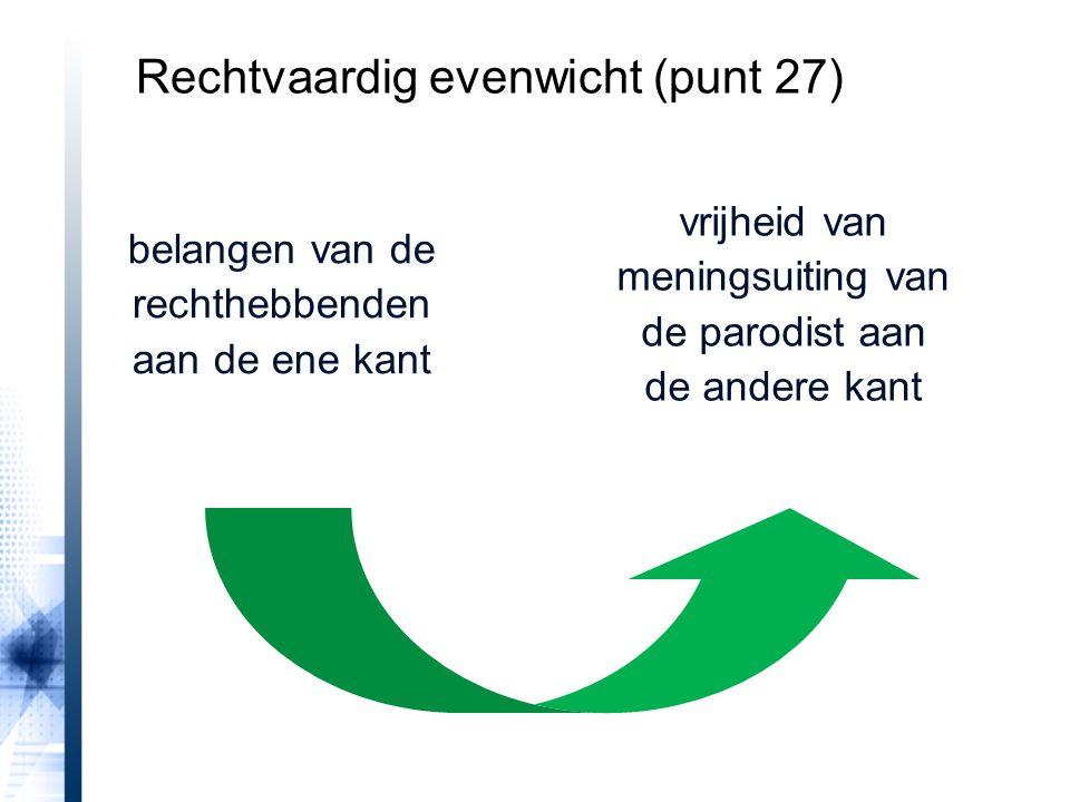 belangen van de rechthebbenden aan de ene kant vrijheid van meningsuiting van de parodist aan de andere kant Rechtvaardig evenwicht (punt 27)