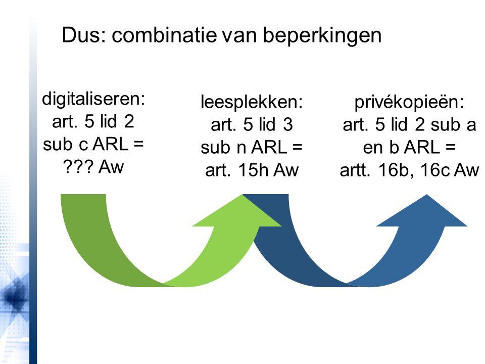 digitaliseren: art. 5 lid 2 sub c ARL = ??? Aw leesplekken: art. 5 lid 3 sub n ARL = art. 15h Aw privékopieën: art. 5 lid 2 sub a en b ARL = artt. 16b