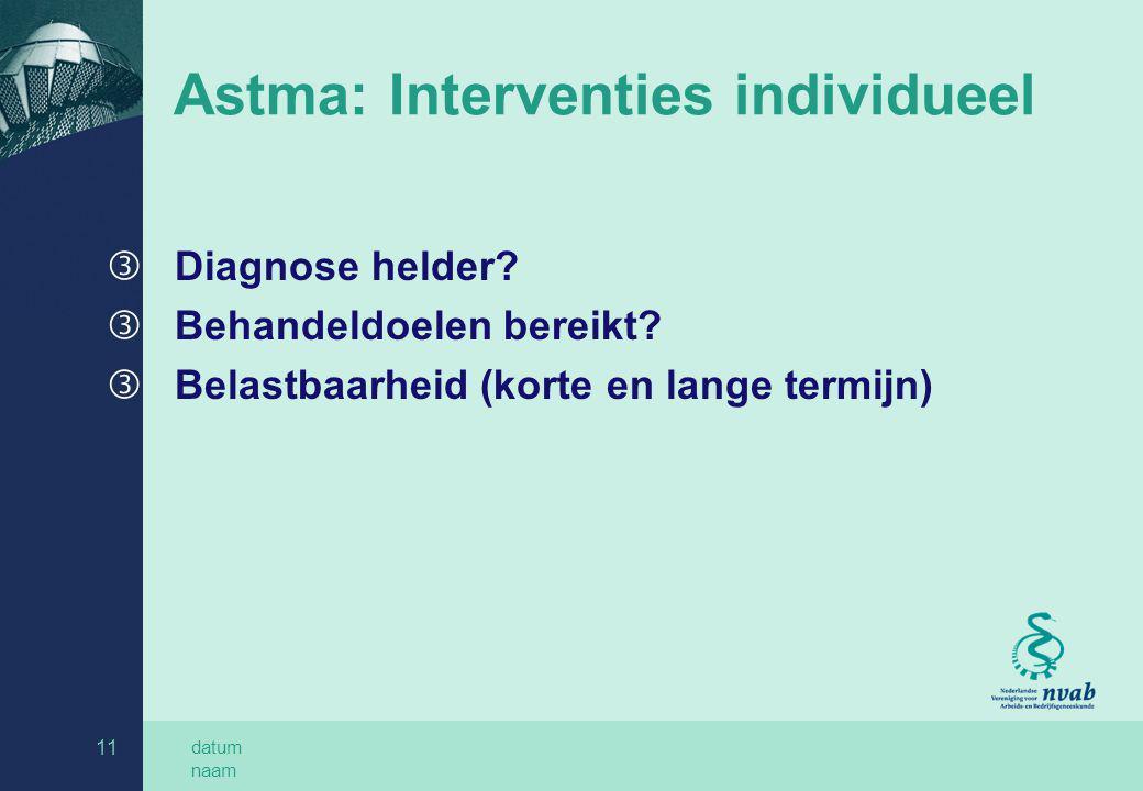 datum naam 11 Astma: Interventies individueel ƒ Diagnose helder? ƒ Behandeldoelen bereikt? ƒ Belastbaarheid (korte en lange termijn)
