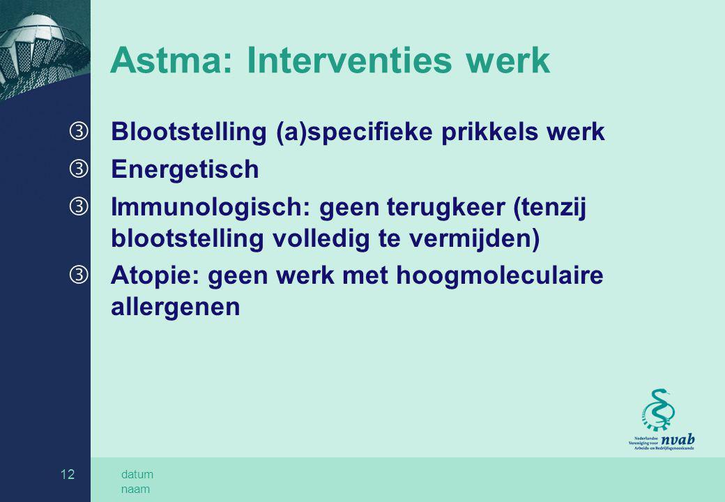 datum naam 12 Astma: Interventies werk ƒ Blootstelling (a)specifieke prikkels werk ƒ Energetisch ƒ Immunologisch: geen terugkeer (tenzij blootstelling