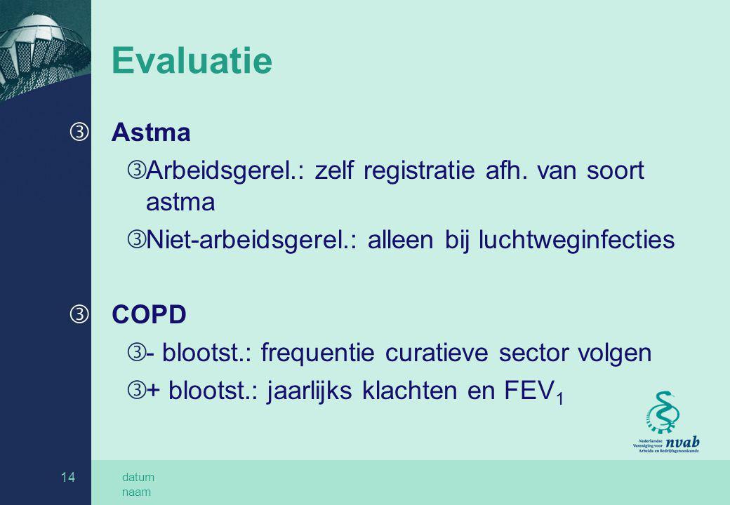 datum naam 14 Evaluatie ƒ Astma ƒ Arbeidsgerel.: zelf registratie afh. van soort astma ƒ Niet-arbeidsgerel.: alleen bij luchtweginfecties ƒ COPD ƒ - b
