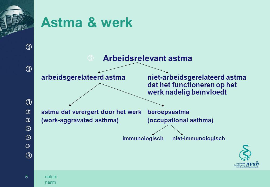 datum naam 5 Astma & werk ƒ ƒ Arbeidsrelevant astma ƒ arbeidsgerelateerd astmaniet-arbeidsgerelateerd astma dat het functioneren op het werk nadelig b
