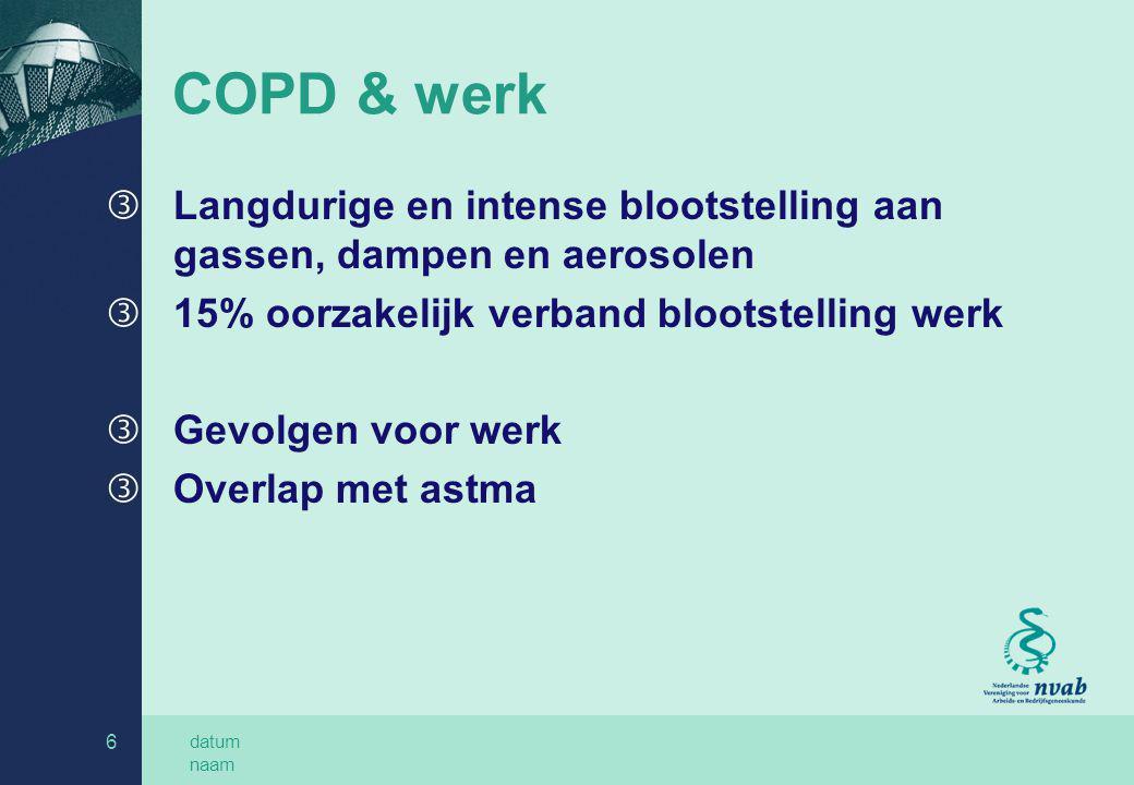 datum naam 6 COPD & werk ƒLangdurige en intense blootstelling aan gassen, dampen en aerosolen ƒ15% oorzakelijk verband blootstelling werk ƒGevolgen vo