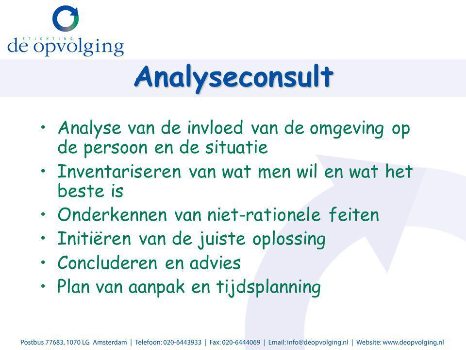 Analyseconsult Analyse van de invloed van de omgeving op de persoon en de situatie Inventariseren van wat men wil en wat het beste is Onderkennen van