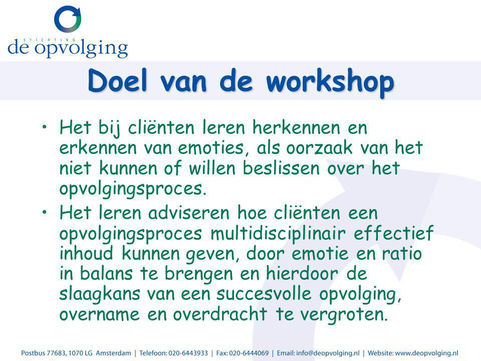 Doel van de workshop Het bij cliënten leren herkennen en erkennen van emoties, als oorzaak van het niet kunnen of willen beslissen over het opvolgingsproces.