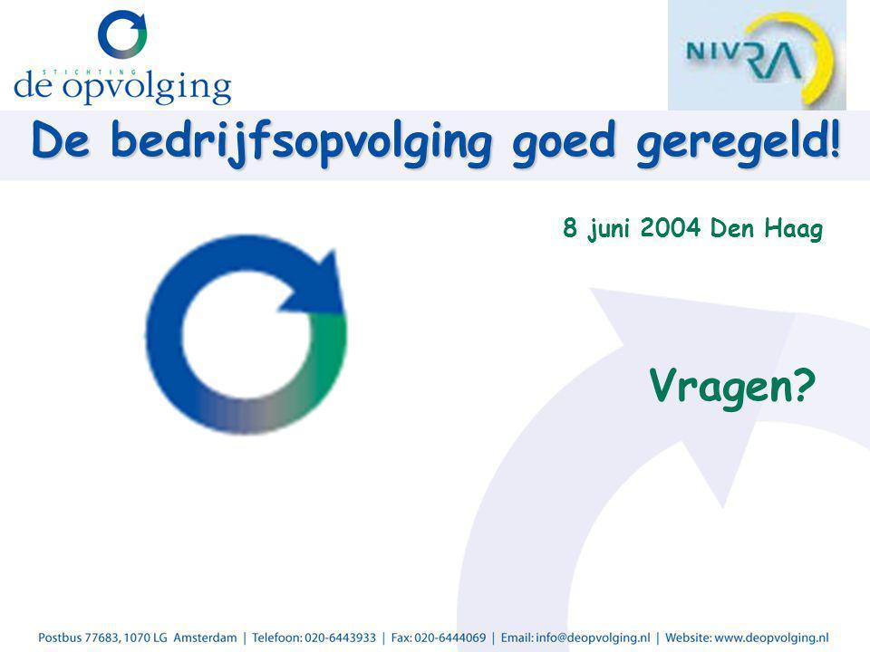 De bedrijfsopvolging goed geregeld! 8 juni 2004 Den Haag Vragen