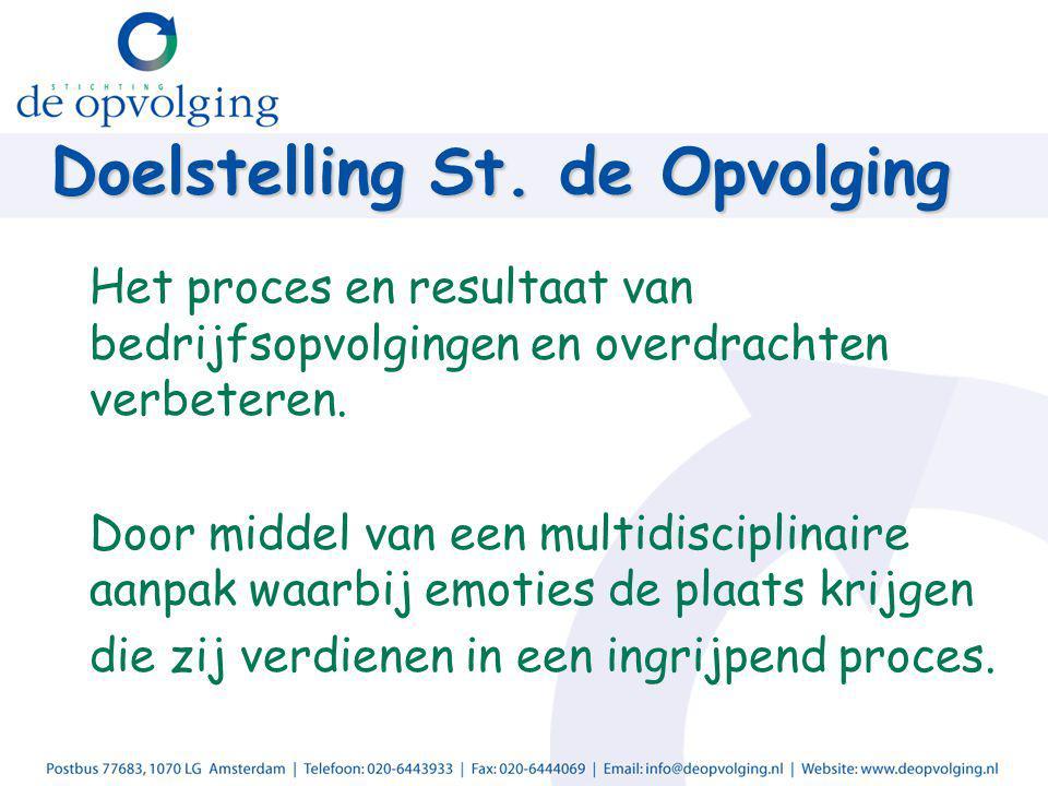 Doelstelling St. de Opvolging Het proces en resultaat van bedrijfsopvolgingen en overdrachten verbeteren. Door middel van een multidisciplinaire aanpa