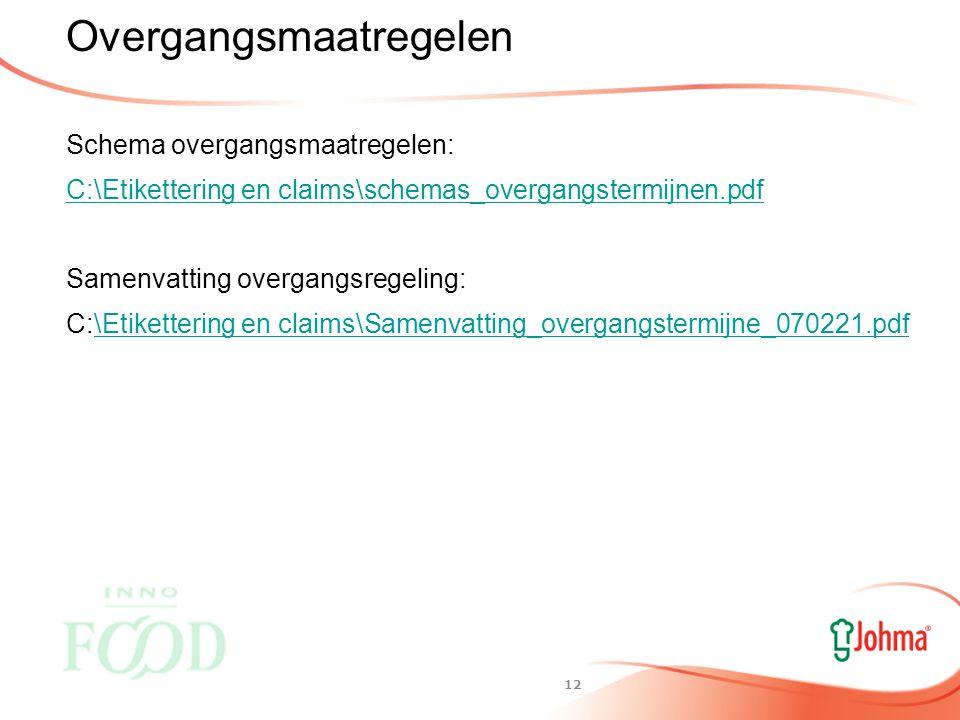 11 Gezondheidsclaims Gericht op de ontwikkeling en gezondheid van kinderen Reikwijdte onduidelijk Nog geen lijst( ) (voor zuigelingenvoeding richtlijn 2006/141/EG) Ziekterisicobeperking Nog geen lijst.